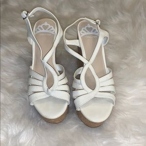 Strappy white wedges